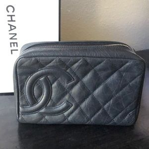 Black distressed calfskin Cambon cosmetic case